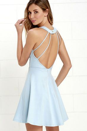 Delightful Surprise Light Blue Skater Dress at Lulus.com!