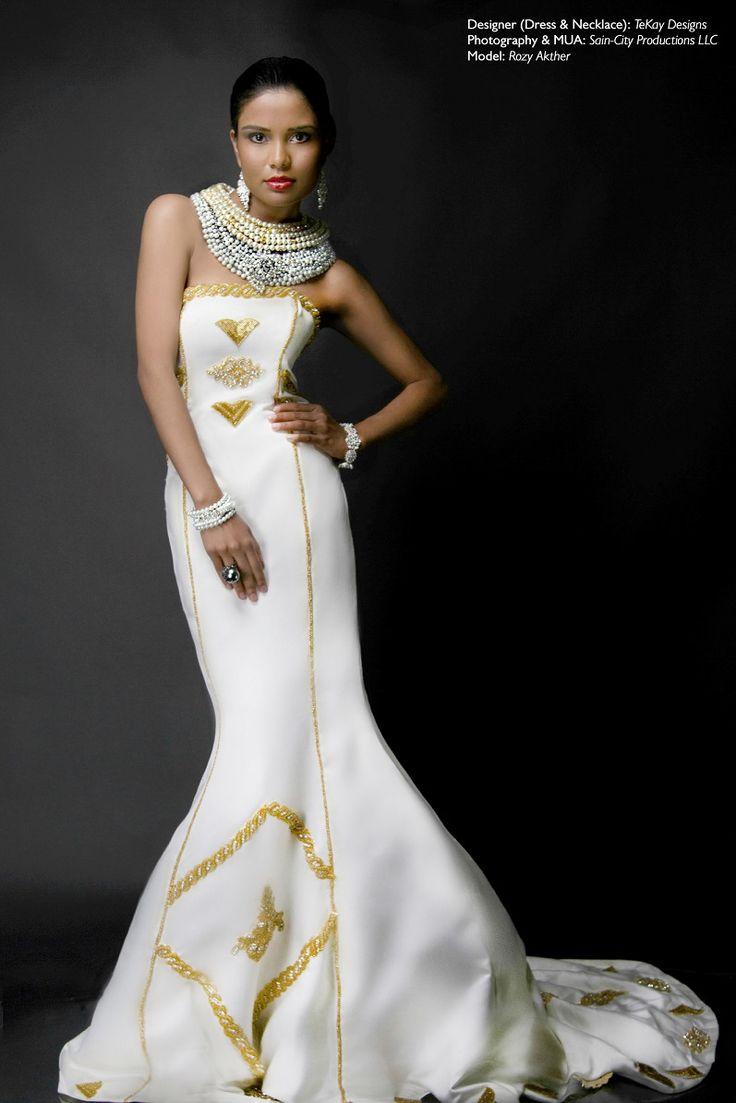 Egyptian Queen Nefertiti Gown Designer Dress Necklace TeKay Designs Collection WeddingEthnic WeddingEgypt FashionWedding