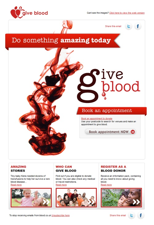 Beautiful Email Newsletters » Blog Archive » Give Blood