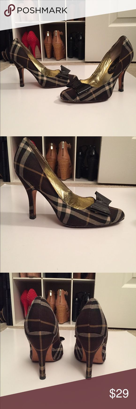 Sam Edelman plaid Patent bow heels black 7 These heels are so adorable! I am so in love with them and don't want to part but sadly they are just a tad too small. Used several times but brand new heel taps were recently added (that alone cost $15) I hope you grab these beauties!!! :) Sam Edelman Shoes Heels