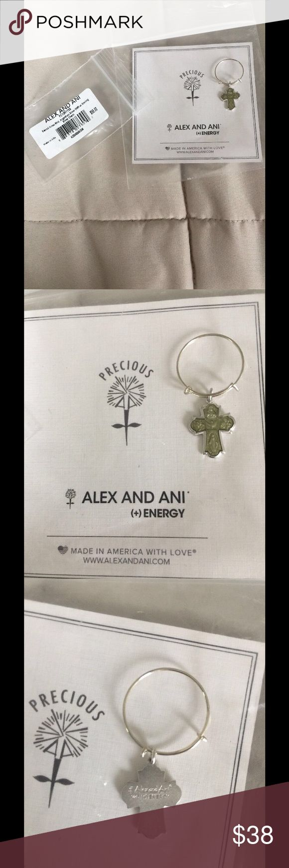 New Alex and Ani Sacred Cross Silver Wire Ring Brand new in original packaging Alex & Ani argentium/sterling silver adjustable, expandable ring. Sacred Cross Mini from the Precious Metal Collection.  Typically known as a four-way medal or a cruciform, the sacred cross is made up of four spiritual medals in one: the Sacred Heart of Jesus at the top, Saint Christopher on the right, the Blessed Mother at the bottom, and Saint Joseph on the left.  MSRP $58.00 Alex & Ani Jewelry Rings