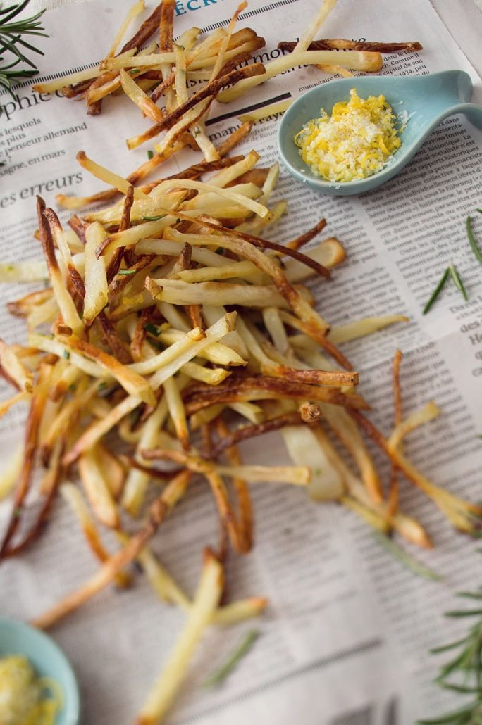 skinny fries with lemon salt and rosemary