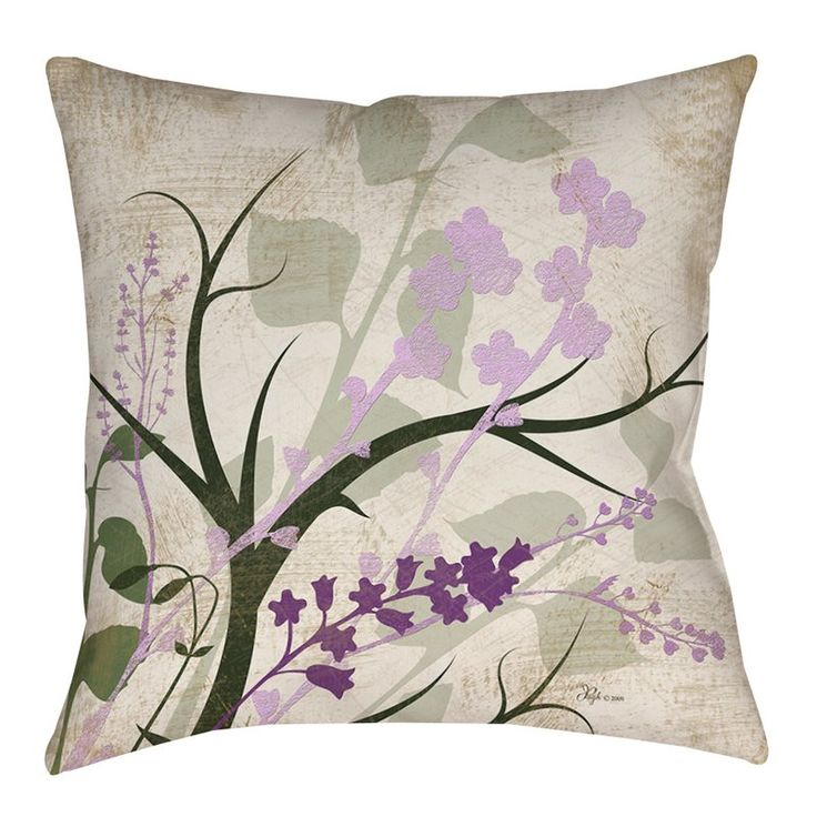 Beautiful art by Jennifer Pugh creates a botanical themed design in shades of lavender, sage, and sand for this printed indoor / outdoor pillow. The vibrant fabric used to create the product is water repellent and works best when used in a covered or partially shaded area. The face and back are made from soft woven polyester. The image is printed on both the front and back making the pillow reversible. Filled with recycled polyester microfiber, the pillow is a perfect focal point or fini...