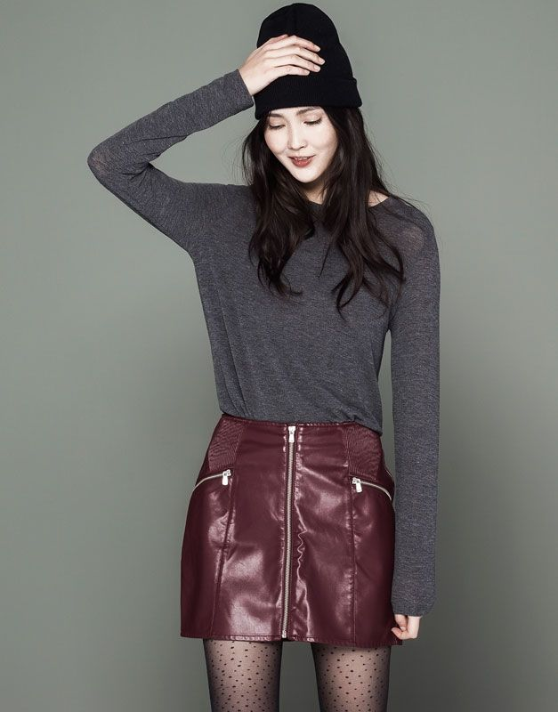 :FAUX LEATHER SKIRT WITH CENTRE ZIP