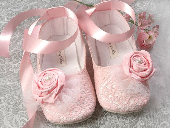 adorable pink baby shoes with lace and rosettes, and I LOVE the little ankle ribbons