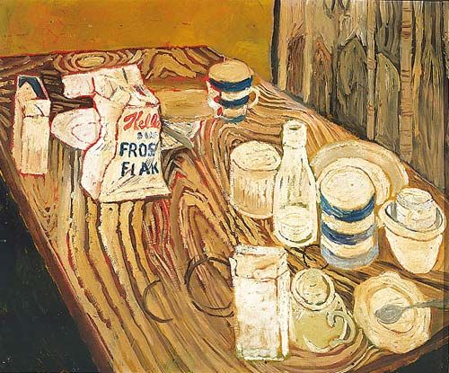 Fave John Bratby, painting cornflakes as if tomorrow might never happen.