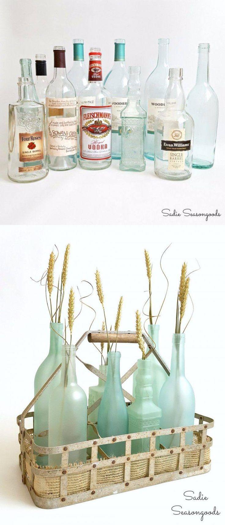Centro de mesa reciclando botellas - sadieseasongoods.com - DIY Sea Glass Bottles Centerpiece