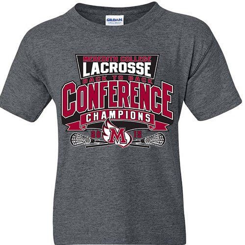Meredith College Heather Gray Lacrosse 2015 Conference Champs T-Shirt