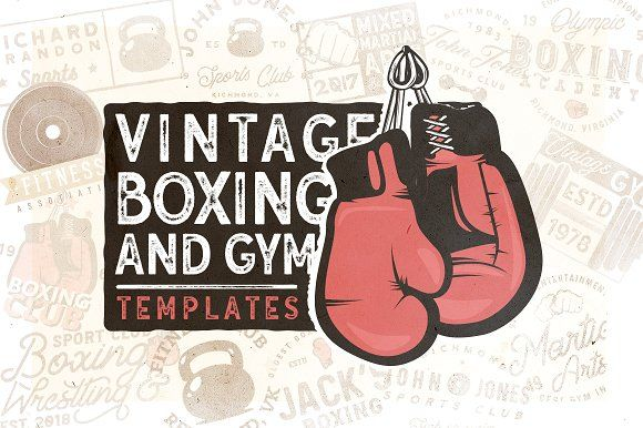 20 Vintage Boxing & Gym Logos by Roman Paslavskiy on @creativemarket