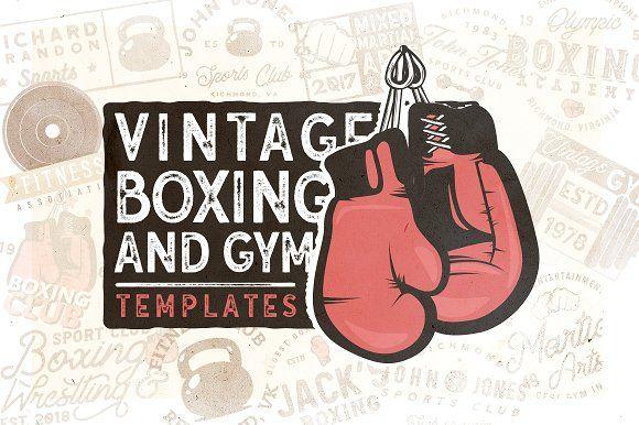 20 Vintage Boxing & Gym Logos by Roman Paslavskiy on @creativemarket