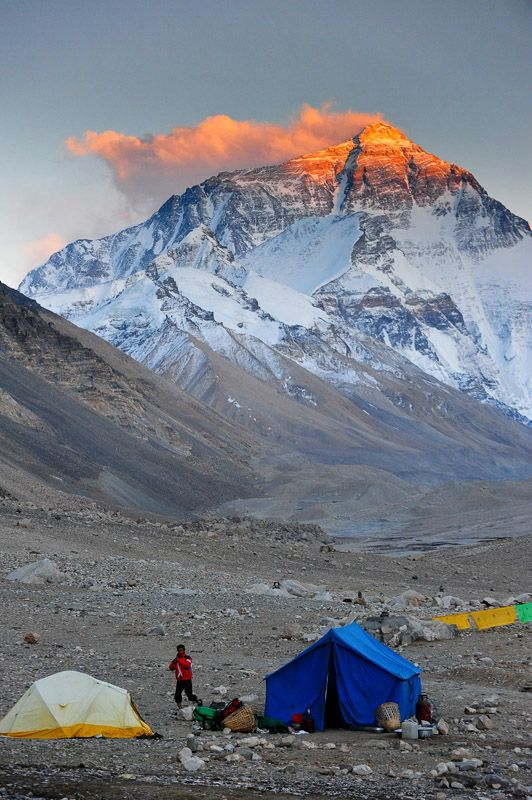 Tents under Mount Everest, Himalaya, Nepal.