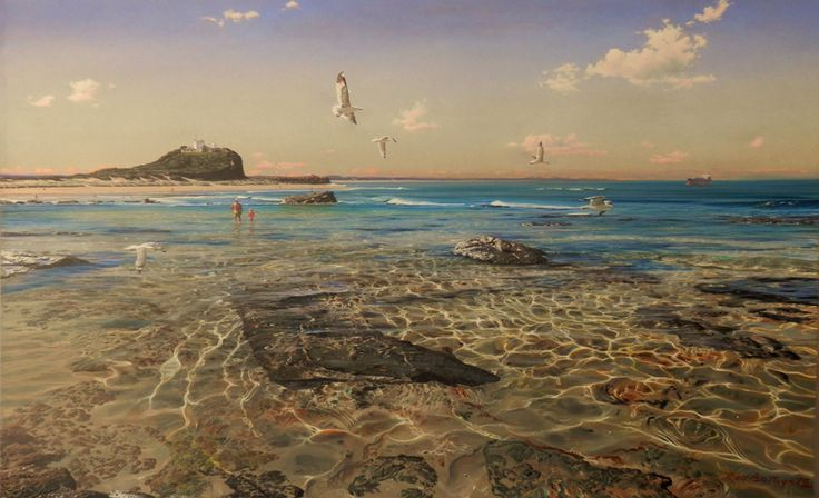 Gulls at Soldiers Pool, Nobby's by Rod Bathgate.  'The Galleries Masters'   Rod is arguably in the top 5 of Australia's best pastel artists. Steve's sculptures capture the viewer's attention because they are foremost colourful. Browse & buy here: http://goo.gl/Zxnvm1 #art #australianart #chg