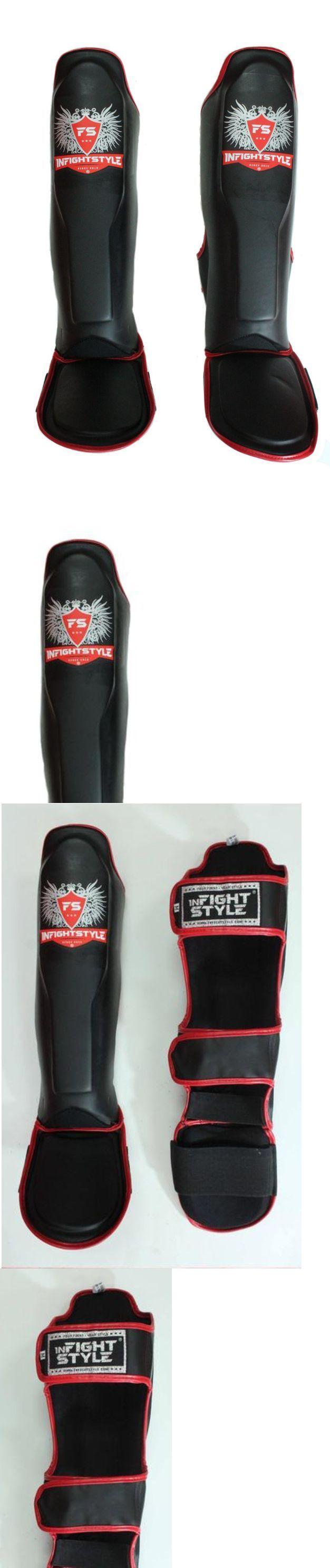 Shin Guards 179782: Infightstyle Muay Thai Boxing Shinguards Shin Kicking Pad Semi-Leather Black Usa -> BUY IT NOW ONLY: $62.99 on eBay!