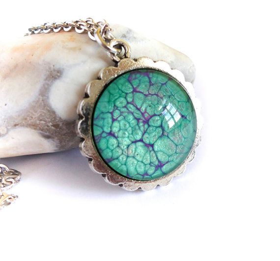 Green purple necklace, handpainted pendant, glass cabochon, glass dome pendant long necklace, green violet pebeo jewerly, unique women gift