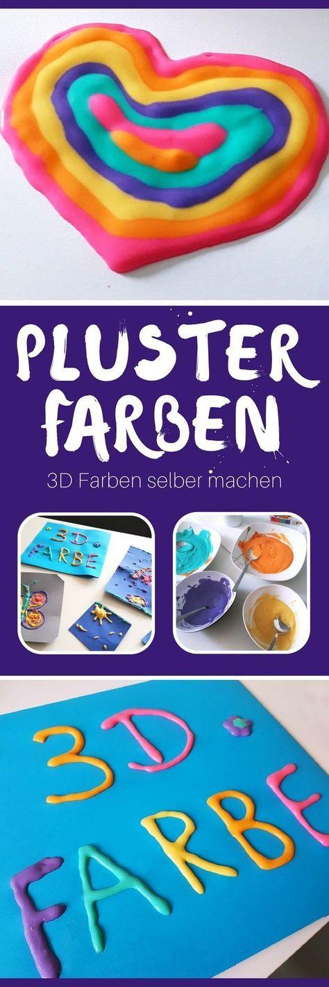 """Anleitung 3D Farben selber machen: Pinterest Pin ~ Plusterfarbe selber machen: günstig, schnell und einfach! Nach nur 30 Sekunden Trocknungszeit hältst du dein 3D Bild in den Händen. Deine Kinder lieben es zu malen, aber sind zu ungeduldig, um auf das Trocknen der Farbe zu warten? Dann solltet ihr diese DIY Anleitung für Puffy Farbe ausprobieren. Am Wochenende entdeckten Leonie und ich auf Pinterest diese Anleitung für selbstgemachte 3D Farbe. Hierzulande kennst du """"Puffy Paint"""" als…"""