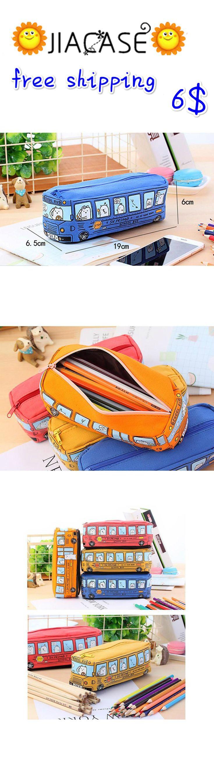Creative #Cartoon #School #Bus #Stationery #Pencil #Box #Storage #Organizer #Bag School Office Supply Student Pen Box