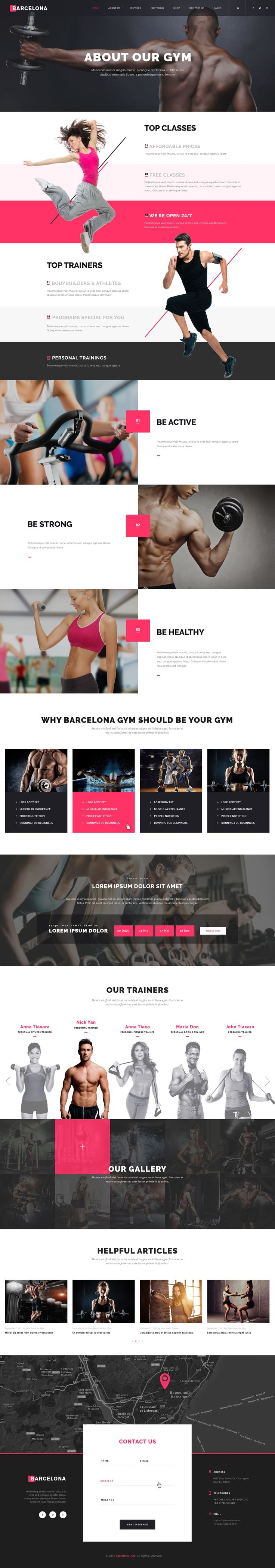 Barcelona is a powerful, modern and creative #PSD template for #fiteness, Sport…
