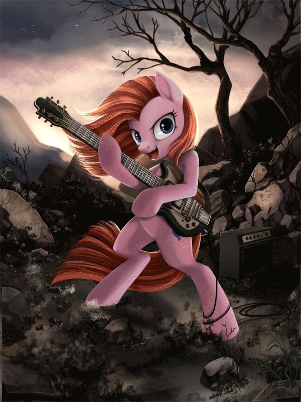 My Little Pony: Friendship Is Magic, MLP: FIM, MLP, Pony, Ponies, Pinkie Pie, Pinkamena, Pinkamena Diane Pie, Alternate Personality, Guitar, Music, Dark, GIF, Art