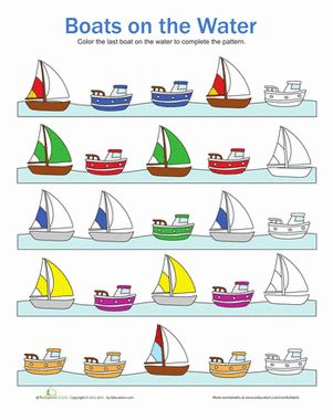 boat patterns preschool 2015 homeschool pattern worksheets for kindergarten pattern. Black Bedroom Furniture Sets. Home Design Ideas