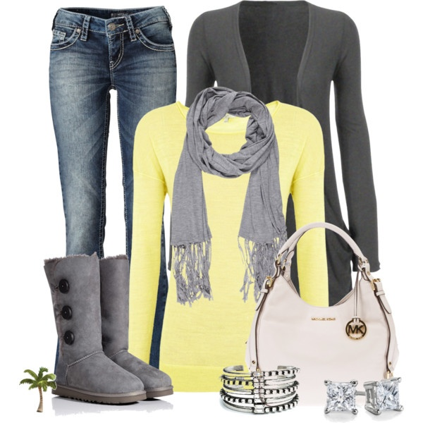 This whole outfit is so cute.  Love grey and yellow together and those boots are so cute!!!! I WANT!