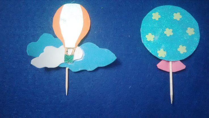 DIY air balloon cupcake toppers