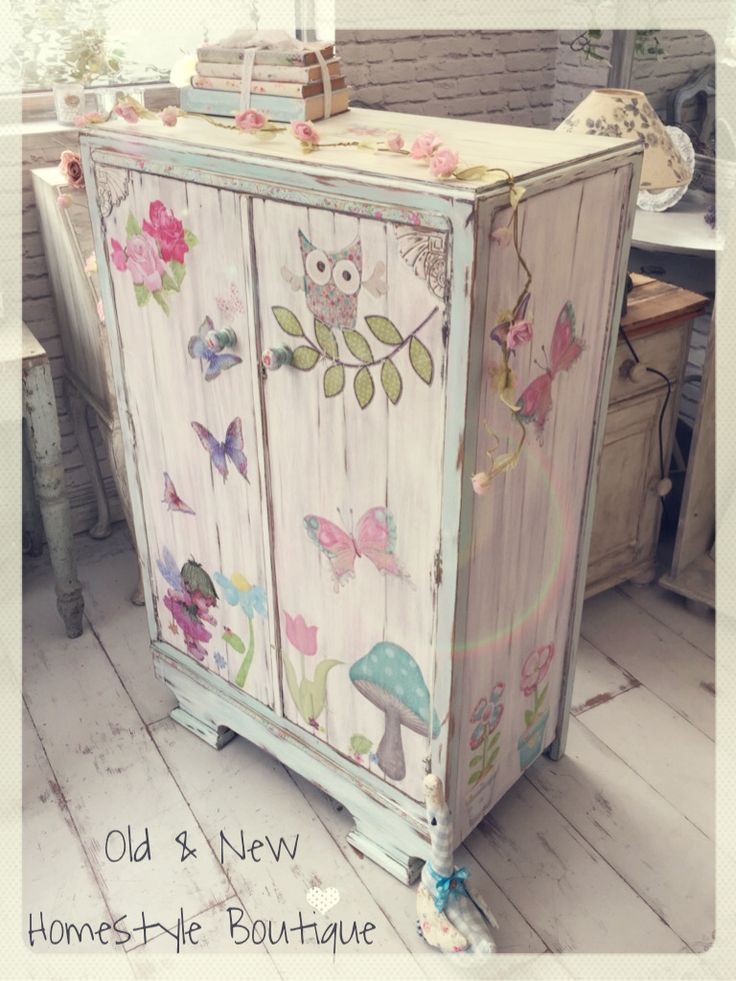 Little girls wardrobe makeover painted in pastel chalk paints, distressed & decoupaged                                                                                                                                                      More