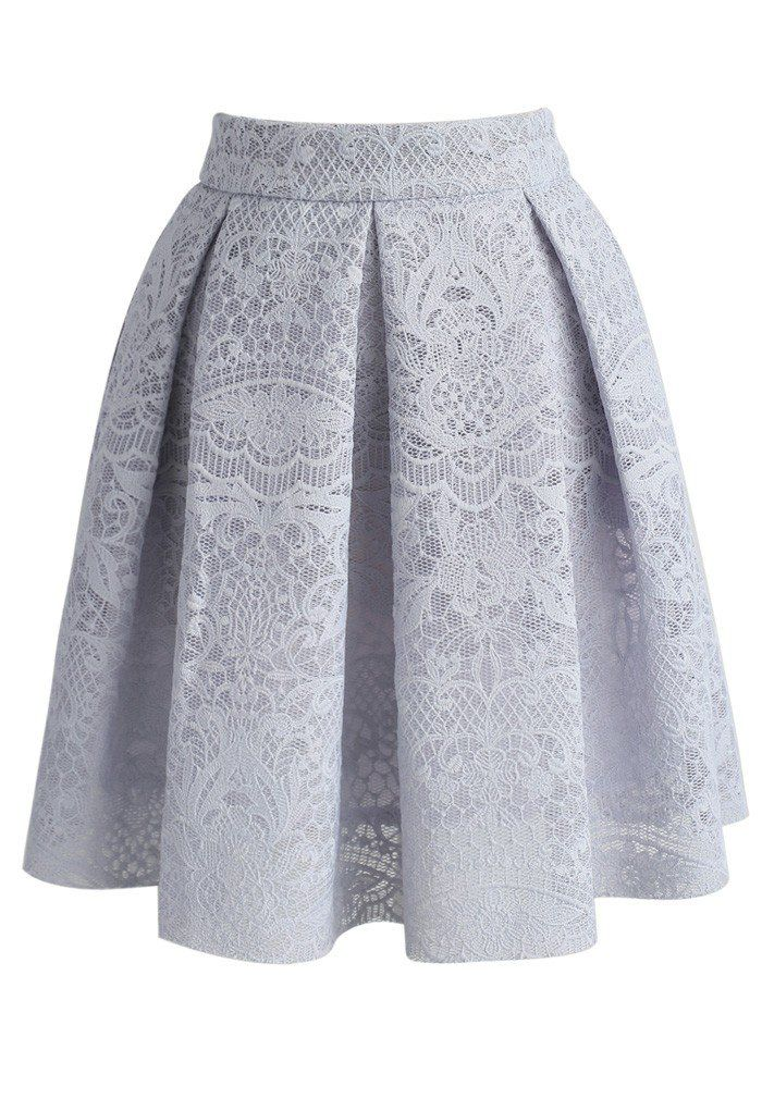 Lacy Airy A-line Skirt in Grey - New Arrivals - Retro, Indie and Unique Fashion