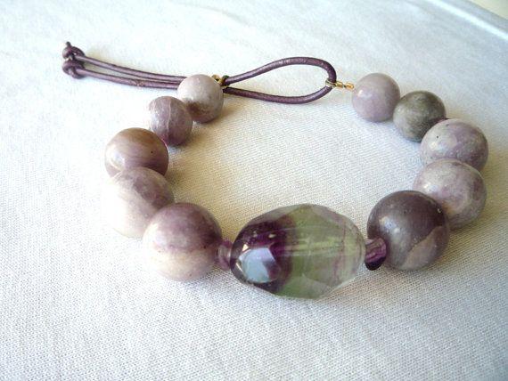 Lavender Lilac Stone and Rainbow Fluorite gemstone by Iridonousa
