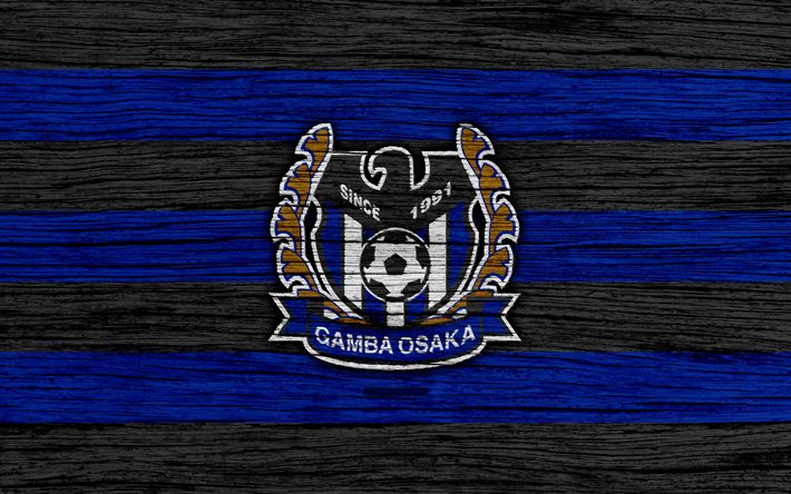 Download wallpapers Gamba Osaka, 4k, emblem, J-League, wooden texture, Japan, Gamba Osaka FC, soccer, football club, logo, FC Gamba Osaka