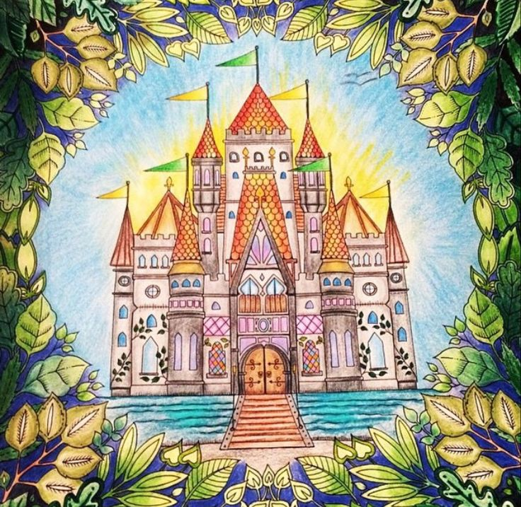 Castle Leaves Enchanted Forest Castelo Floresta Encantada Johanna Basford Great BooksColoring