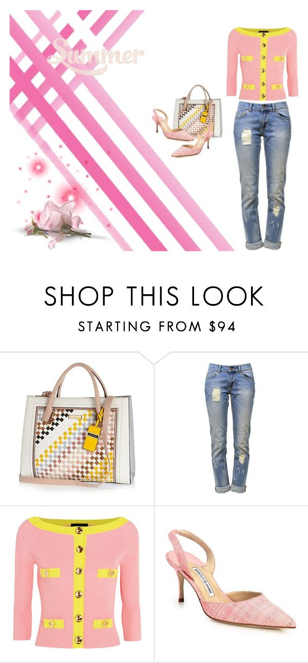 """""""River Island Light blue woven tote handbag"""" by ellyandeddy-mendo ❤ liked on Polyvore featuring River Island, Anine Bing, Boutique Moschino and Manolo Blahnik"""