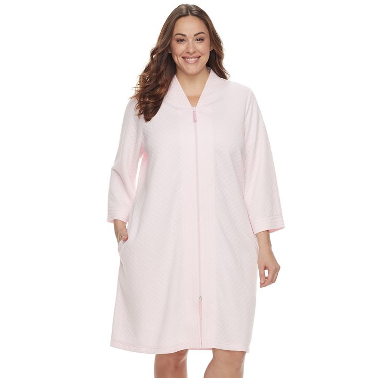 Plus Size Croft & Barrow® Quilted Zip-Up Duster Robe, Women's, Size: 2XL, Brt Pink