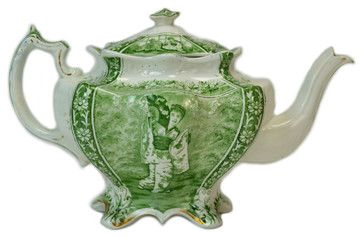 Consigned Porcelain Teapot w/ Oriental Style Decoration in Green, English Victor traditional-teapots