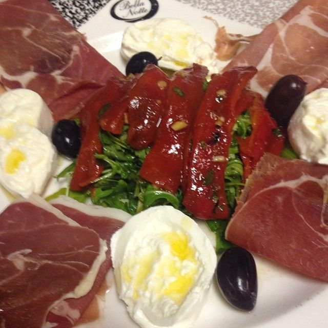 Prosciutto di Parma with Burrata Arrugala Roasted Red Peppers and Kalamata Olives #absolutelydelicious
