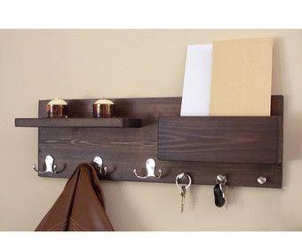 entryway organizer coat hooks key hooks large by rustichandcrafts