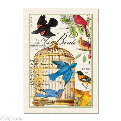Michel Design Works Cotton Kitchen Tea Towel Birdcage Birds   NEW