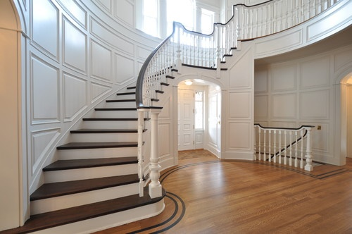 21 Staircase Lighting Design Ideas Pictures: Dark Stairs And Railing, Light Floors