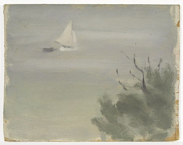 Clarice Beckett Not titled (seascape with yacht) c1919-5