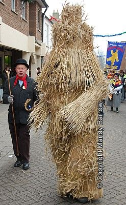 Whittlesey Straw Bear Festival    During the 19th century Straw Bears - men or boys clothed in a layer of straw - were a familiar Plough Monday. In some places, instead of dragging a decorated plough, one of the farm labourers dressed as a straw bear and along with other farm labourers would beg door to door for money.