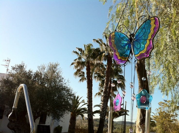 Decoration all over the place.  These twinkling butterflies are making a relaxing noise on the wind.