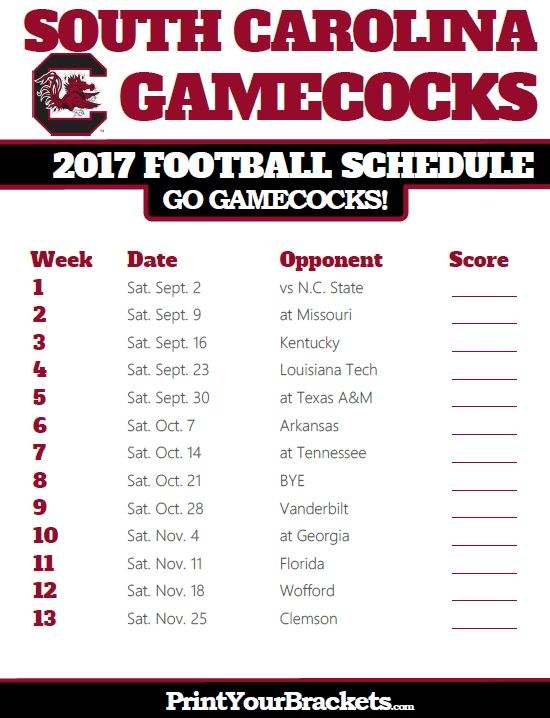 Printable South Carolina Gamecocks Football Schedule