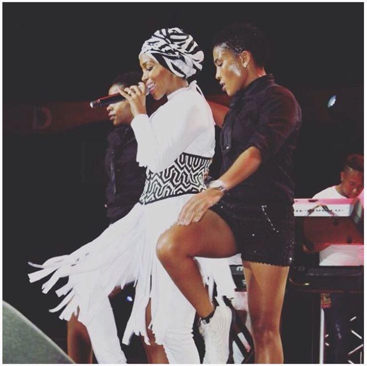 Nhlanhla Nciza wearing Arwen Garmentry cincher on stage at Carnival City