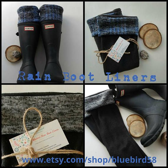Knit Cuff Rain Boot Liners in Verigated gray and black or Blue