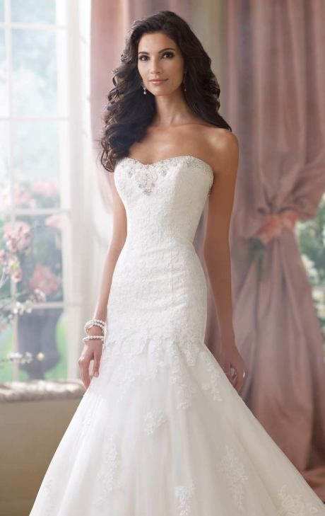 Strapless lace and tulle beaded dress by David Tutera