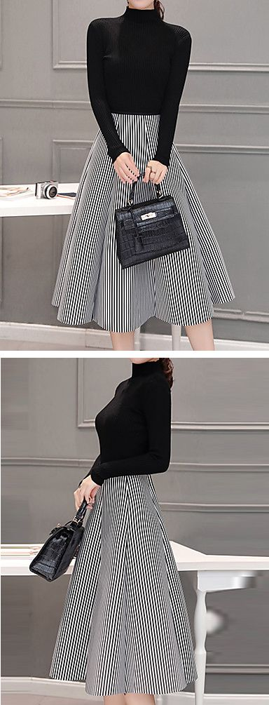 One of our favorite winter dresses for professional women - long sleeve turtleneck plaid skirt midi knee length dress. Comes in black and white at only  $25.64.  Enjoy up to 85% OFF on our Black Friday sale till December 1st.