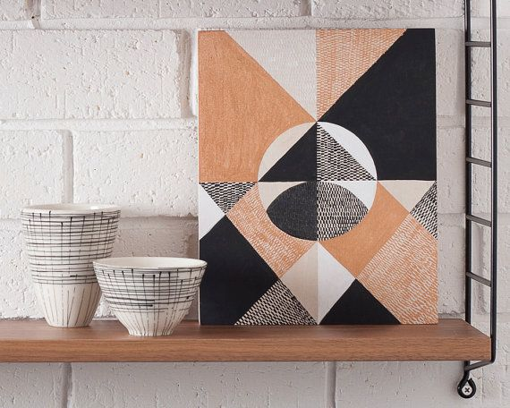 Reflection, original art abstract art symbolism geometric pattern lines texture copper monochrome black and white triangles circle signs
