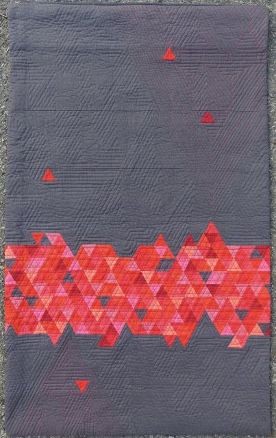 Absolutely love the geometric quilting on this quilt by Michele-Renee Charbonneau of Quilt Matters! She created this quilt as a part of the #QuiltItModern Blog Tour featuring Riley Blake Designs Confetti Cottons and Crayola Colors. The pattern is her own creation, and her quilting was done with various shades of Aurifil thread! To see more, please visit: http://quiltmatters.blogspot.com/2016/07/triad-quilt-it-modern-blog-tour-finish.html