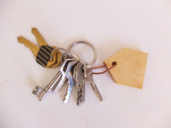Wooden House Keychain by OursandHours on Etsy