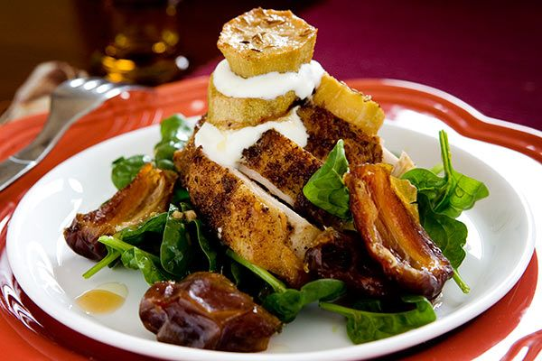 Roasted feijoa and chicken salad