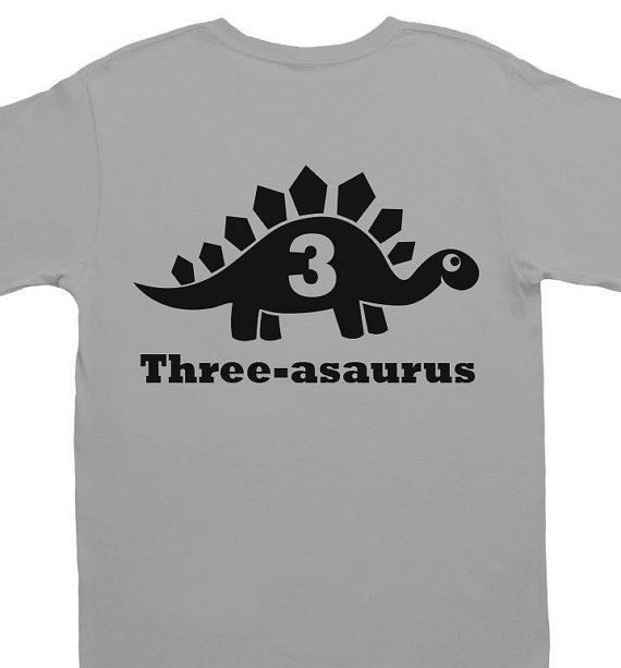 Third Birthday Tshirt - 3 Year Old Shirt - Dinosaur Themed birthday shirt with Any Age Number - Hipster Toddler Shirt - Three asaurus